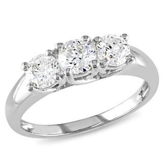 Miadora 14k White Gold 1ct TDW Certified Diamond 3-stone Engagement Ring (G-H, I2)