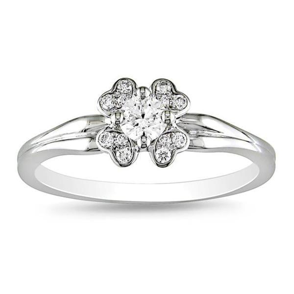 Miadora Signature Collection 14k White Gold 1/4ct TDW Diamond Fashion Ring