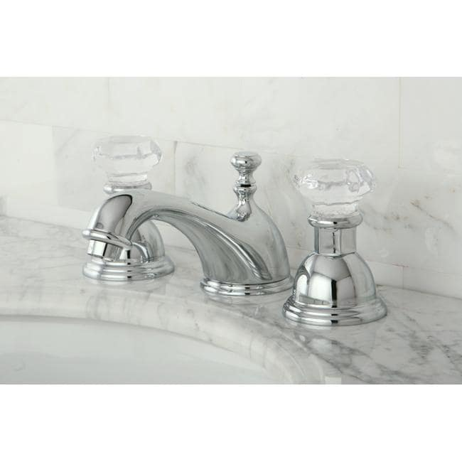 Superbe Crystal Handle Chrome Widespread Bathroom Faucet With Hardware