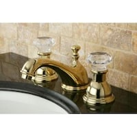 Crystal Handle Polished Brass Widespread Bathroom Faucet - Free ...