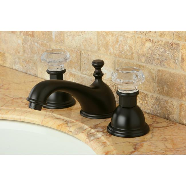 3 Hole Bathroom Faucet crystal handle oil-rubbed bronze widespread 3-hole mount bathroom