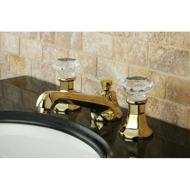 Crystal Handle Polished Brass Widespread Bathroom Faucet