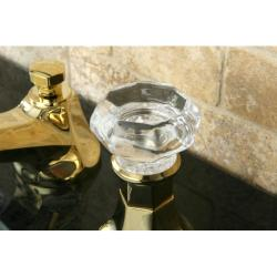 Crystal Handle Polished Brass Widespread Bathroom Faucet - Thumbnail 1