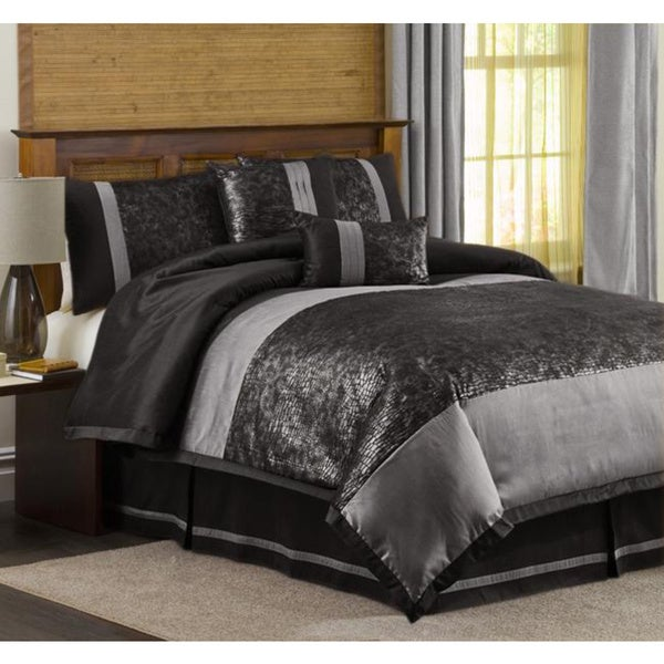 Shop Lush Decor Metallic Crocodile Black/ Silver 6-piece