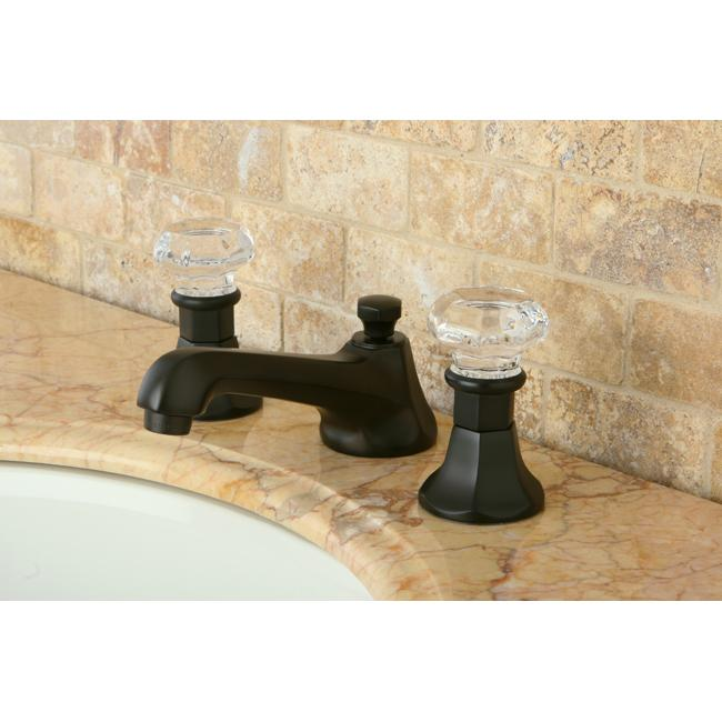 Crystal Handle Oil Rubbed Bronze Widespread Bathroom Faucet - Thumbnail 0