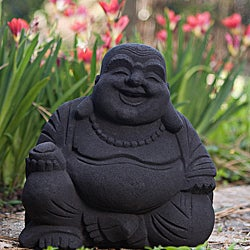 Volcanic Ash Black Happy Buddha Statue, Handmade in Indonesia - Thumbnail 0