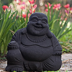 Volcanic Ash Black Happy Buddha Statue, Handmade in Indonesia