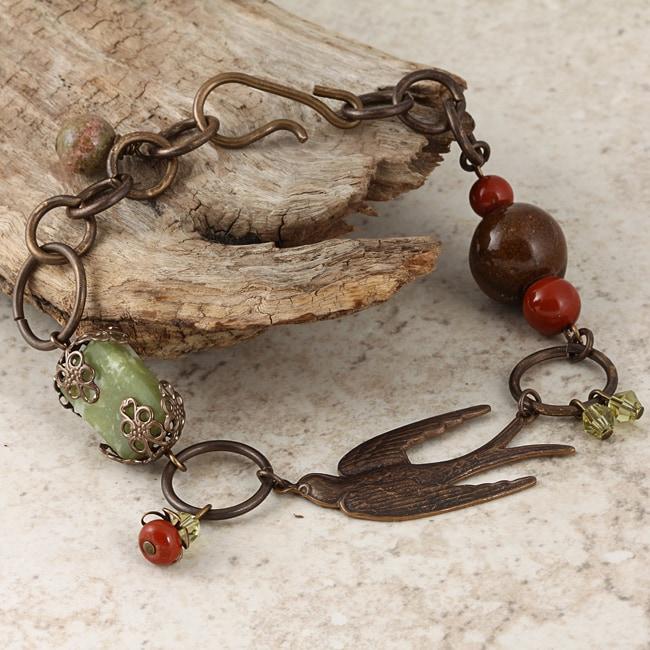 Classic Brass Soaring Sparrow Jade and Jasper Vintage Bracelet