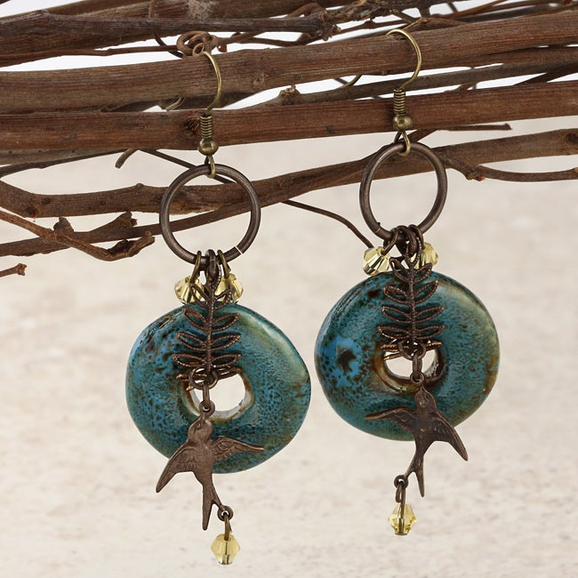 Classic Brass Moody Blue Vintage Earrings