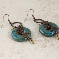 Classic Brass Moody Blue Vintage Earrings - Thumbnail 1
