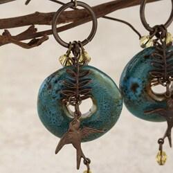 Classic Brass Moody Blue Vintage Earrings - Thumbnail 2