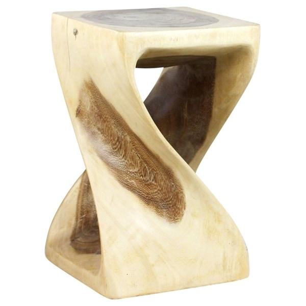 Original Wood Twist Stool 10 X 10 X 16 In High White Oil - 10 x 10 x 16