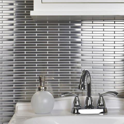 SomerTile 11.75x12-inch Anvil Brick Stainless Steel Over Ceramic Mosaic Wall Tile (10 tiles/9.8 sqft.)