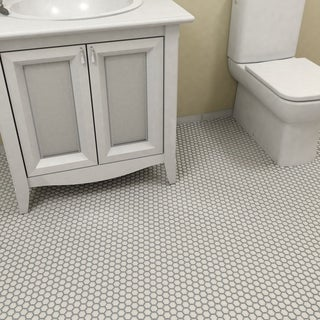 SomerTile 10.25x11.75-inch Victorian Hex Matte White Porcelain Mosaic Floor and Wall Tile (10 tiles/8.54 sqft.)