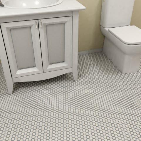 "SomerTile Metro Hex Matte White 10.25"" x 11.75"" Porcelain Mosaic Tile"