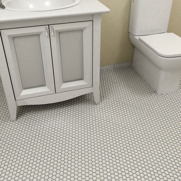 Somertile 10 25x11 75 Inch Victorian Hex Matte White Porcelain Mosaic Floor And Wall