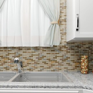 SomerTile 11.75x11.75-inch Reflections Subway Brixton Stone and Glass Mosaic Wall Tile (10 tiles/9.6 sqft.)