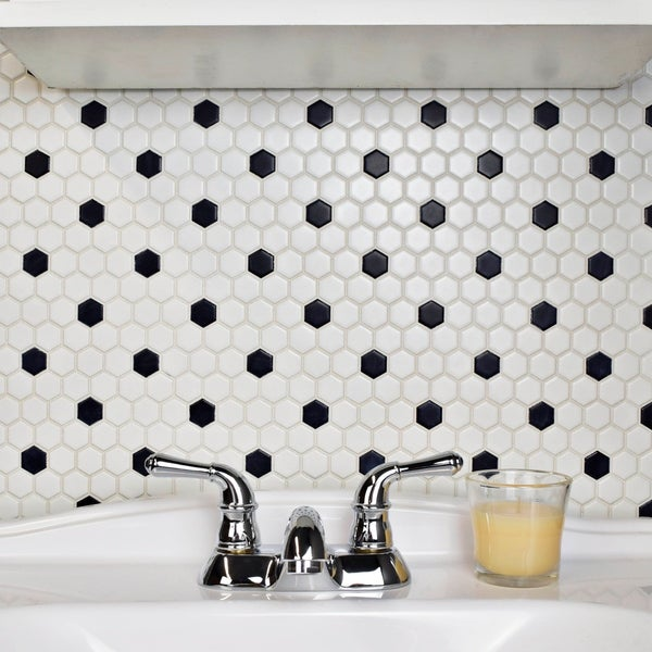 Somertile Victorian Hex Matte White With Black Dot Porcelain Mosaic Tiles (Pack of 10)