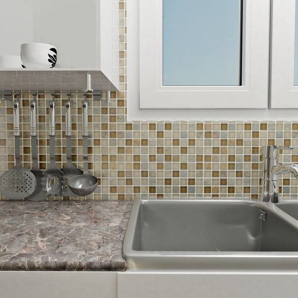 Shop SomerTile Xinch Reflections Square Brixton Stone - 1 inch square ceramic tiles