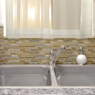 SomerTile 11.625x11.75-inch Reflections Piano Suffolk Stone and Glass Mosaic Wall Tile (5 tiles/4.75 sqft.)