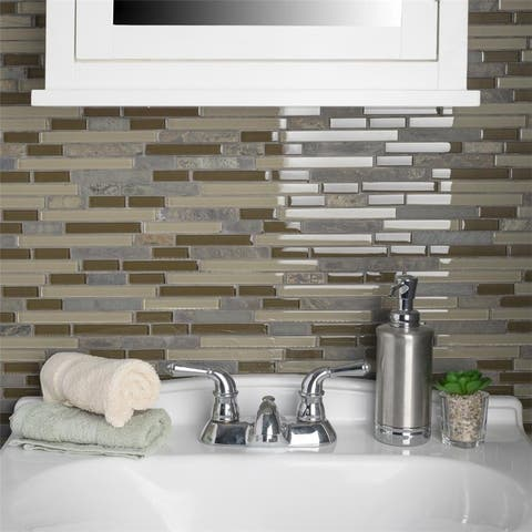 SomerTile 11.625x11.75-inch Reflections Piano Brixton Stone and Glass Mosaic Wall Tile (5 tiles/4.75 sqft.)