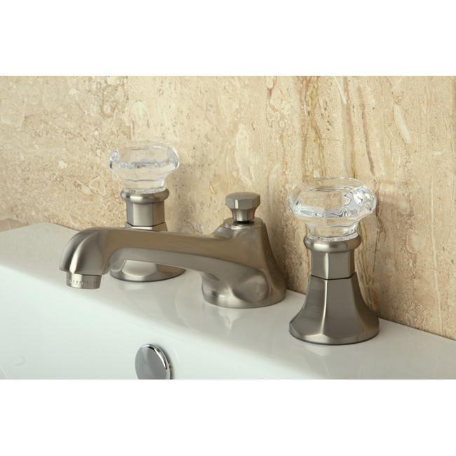 Shop Victorian Crystal Widespread Bathroom Faucet: Shop Crystal Handle Satin Nickel Widespread Bathroom Faucet