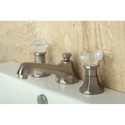 Crystal Handle Satin Nickel Widespread Bathroom Faucet