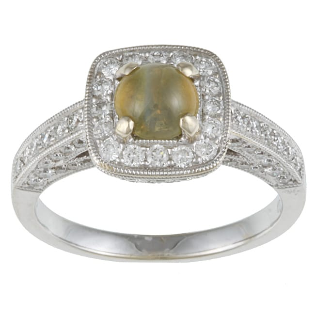 Pre-owned 18k Gold Cat's Eye Chrysoberyl and 1ct TDW Diamond Estate Ring (H-I, SI1-SI2)