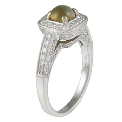 Pre-owned 18k Gold Cat's Eye Chrysoberyl and 1ct TDW Diamond Estate Ring (H-I, SI1-SI2) - Thumbnail 1