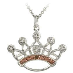 DB Designs Rose Gold over Sterling Silver Champagne Diamond Accent Crown Necklace