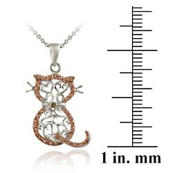 DB Designs Rose Gold over Silver Champagne Diamond Accent Filigree Cat Necklace - Thumbnail 2