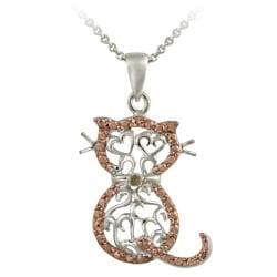 DB Designs Rose Gold over Silver Champagne Diamond Accent Filigree Cat Necklace