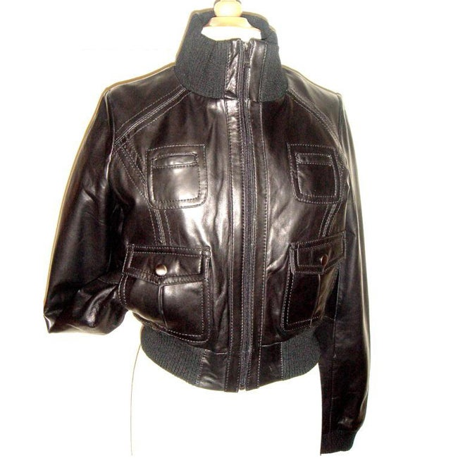 Knoles & Carter Women's Leather Bomber Jacket