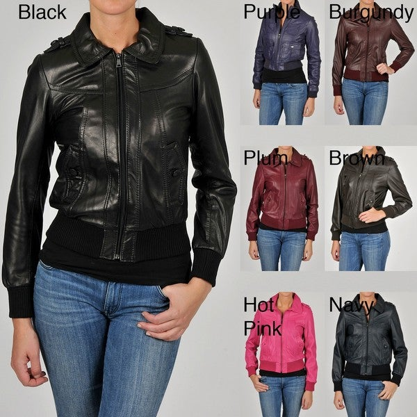 Knoles & Carter Women's Leather Bomber Jacket