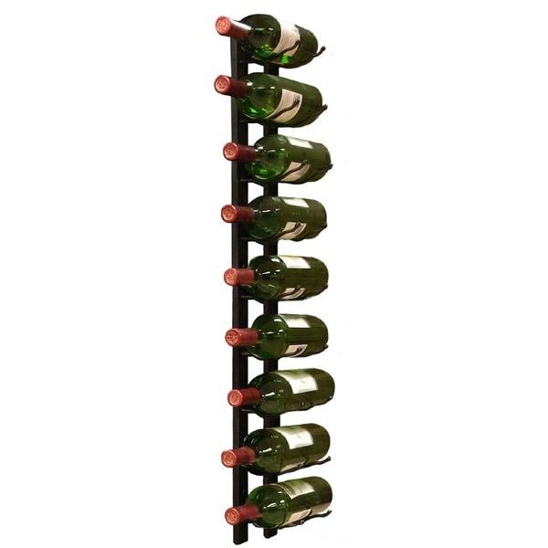 Epicureanist Wall Mount 9-Bottle Black Metal Wine Rack