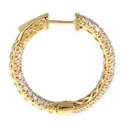 Gold-Over-Silver Cubic Zirconia Clip-In Hoop Earrings - Thumbnail 1