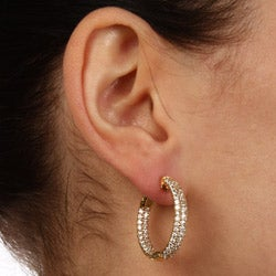 Gold-Over-Silver Cubic Zirconia Clip-In Hoop Earrings - Thumbnail 2
