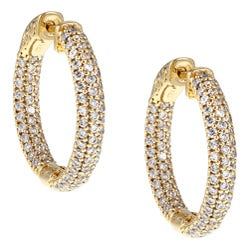 Gold-Over-Silver Cubic Zirconia Clip-In Hoop Earrings
