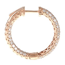 Rose Goldplated Cubic Zirconia Hoop Earrings with Clip-In Clasp - Thumbnail 1