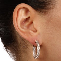 Rose Goldplated Cubic Zirconia Hoop Earrings with Clip-In Clasp - Thumbnail 2