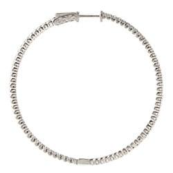 Rhodium-plated Sterling Silver Cubic Zirconia Hoop Earrings - Thumbnail 1