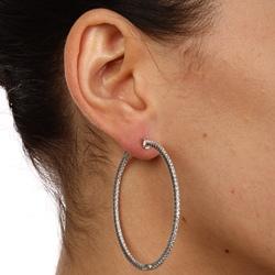 Rhodium-plated Sterling Silver Cubic Zirconia Hoop Earrings - Thumbnail 2