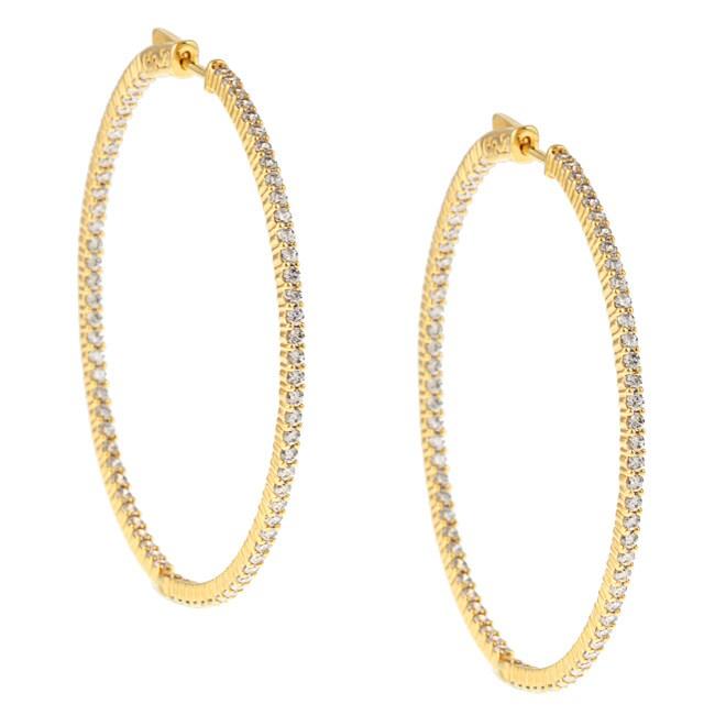 Gold over Silver Cubic Zirconia Hoop Earrings