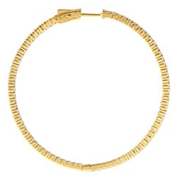 Gold over Silver Cubic Zirconia Hoop Earrings - Thumbnail 1