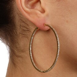 Gold over Silver Cubic Zirconia Hoop Earrings - Thumbnail 2