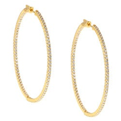 Gold over Silver Cubic Zirconia Hoop Earrings