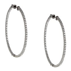 Black Rhodium-plated Silver Cubic Zirconia Hoop Earrings