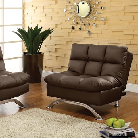 Furniture of America Pova Transitional Brown Faux Leather Sofa Chair