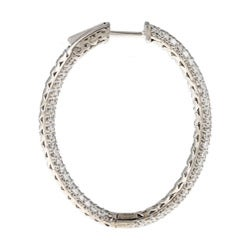 Sterling Silver Pave Cubic Zirconia Hoop Earrings