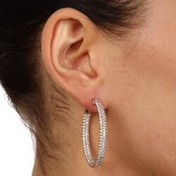 Rose Goldplated Cubic Zirconia Hoop Earrings